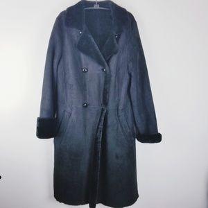 Talbots black suede faux fur long winter jacket sm
